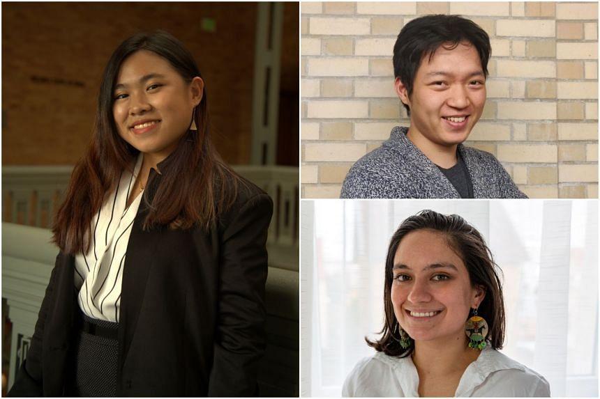 (Clockwise from left) University of California, Berkeley, student Joellene Yap, Carnegie Mellon University student Yang Gan and Johns Hopkins University student Emma Giron.