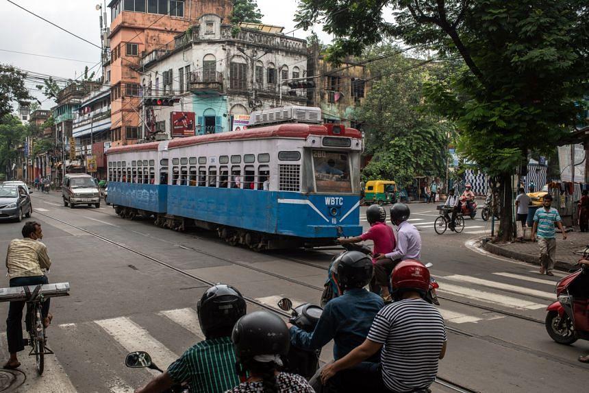 A tram on College Street in Kolkata, India, on July 20, 2021.