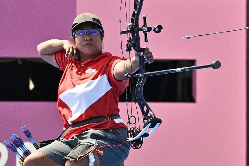 Ms Nur Syahidah Alim during the Tokyo 2020 Paralympic Games at Yumenoshima Final field in Tokyo on Aug 30, 2021.