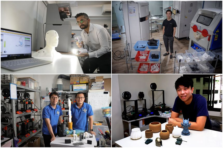 (Clockwise from top left) Chemtron Business development manager Tony Moochala, Zelta3D co-founder Wong Ming Zheng, Hexar Creations founder Jeremy Wee and 3D Print Singapore co-founders Colin Ouyang and Francis Chang.