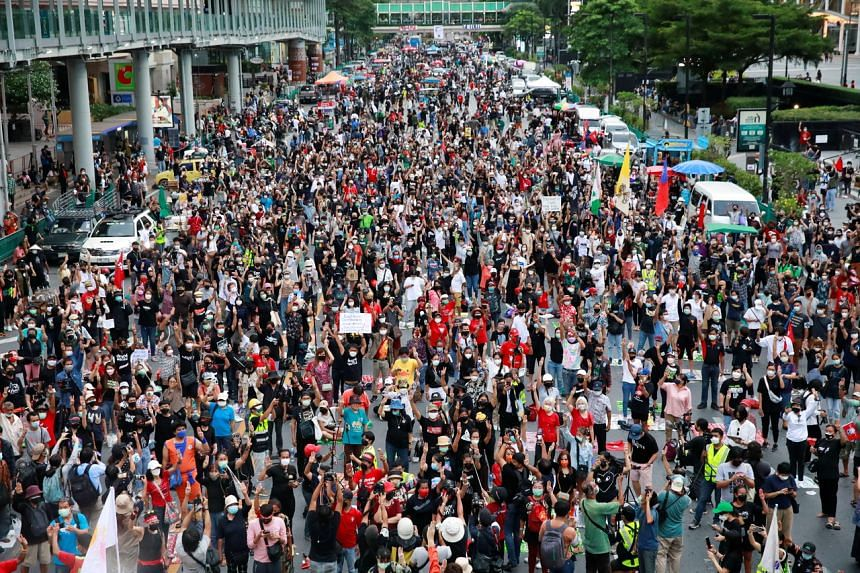 Anti-government protesters in Bangkok on Sept 3, 2021.