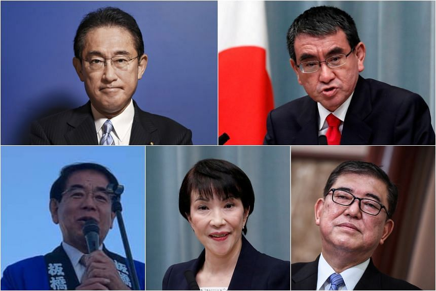 (Clockwise from top left) Former foreign minister Fumio Kishida, former defence ministers Taro Kono and Shigeru Ishiba, former interior minister Sanae Takaichi and former education minister Hakubun Shimomura are some of the potential candidates for t