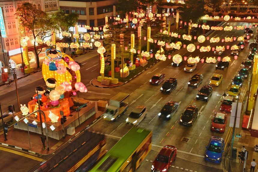 Lanterns along the streets of Chinatown mark the Mid-Autumn Festival, on Sept 17, 2020.
