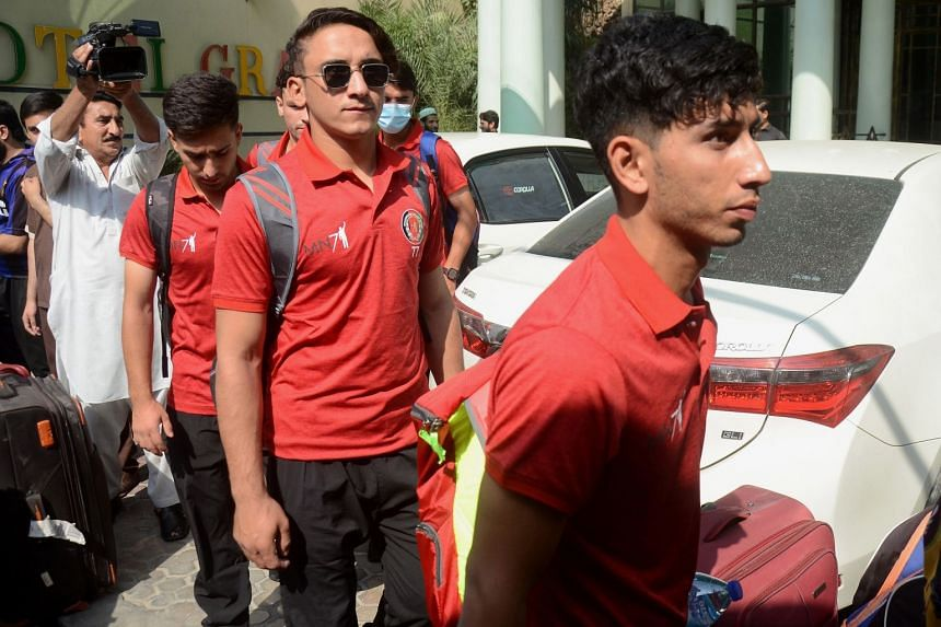 Afghanistan's U19 cricket team leave from a hotel ahead of their Bangladesh tour, in Peshawar, Pakistan, on Sept 3, 2021.
