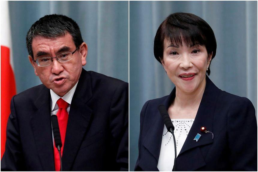 Mr Yoshihide Suga has backed vaccine minister Taro Kono (left) to succeed him while Mr Shinzo Abe intends to endorse former internal affairs minister Sanae Takaichi (right).