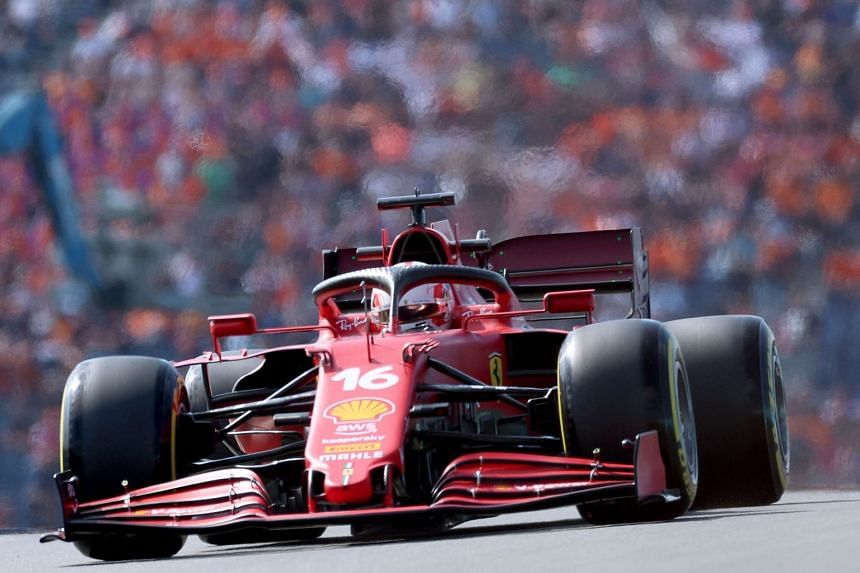 Charles Leclerc steers his car during the second free practice session.