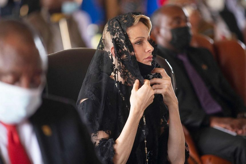 Princess Charlene is pictured at a memorial service in South Africa in March 2021.