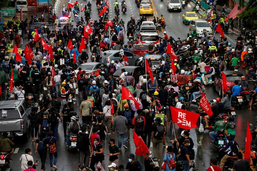 More than 300 demonstrators marched in central Bangkok's main shopping mall district.