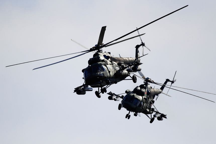 Belarusian military helicopters during the Zapad-2017 exercises near the village of Volka in Belarus.