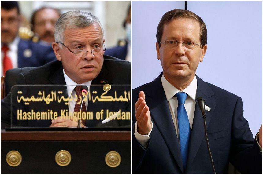 Israeli President Isaac Herzog (left) met in secret with King Abdullah II of Jordan in Amman.
