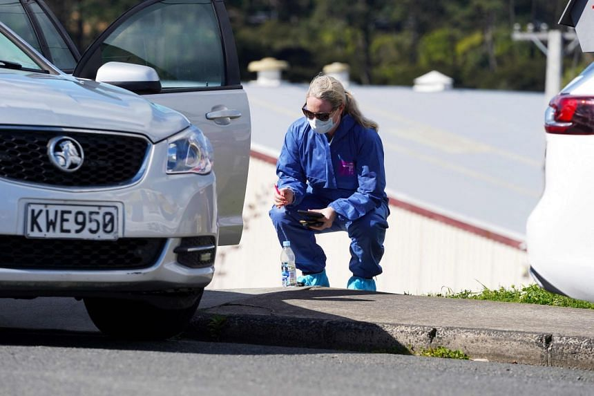 A forensic police officer is seen outside the Bilal mosque in Auckland on Sept 4, 2021.
