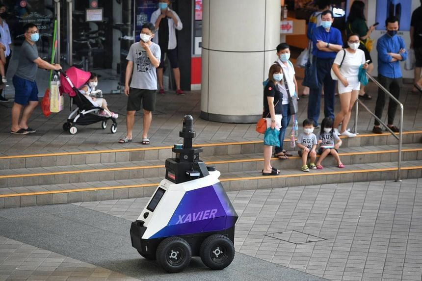 Autonomous robot Xavier making its patrolling debut at Toa Payoh Central on Sept 5, 2021.