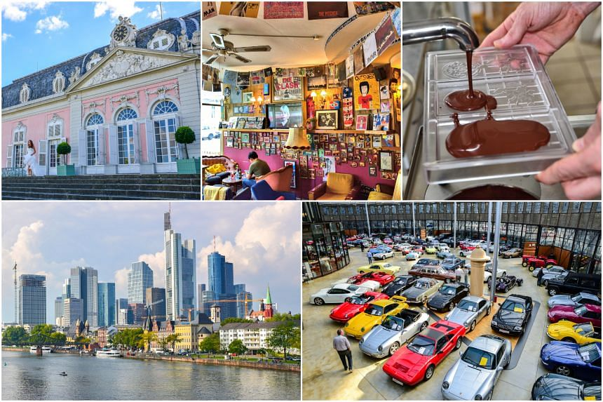 (Clockwise from top left) Benrath Palace, Ramones Museum, Belyzium Chocolate, Classic Remise and Frankfurt's riverfront.