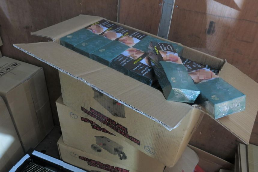 1,120 cartons of duty-unpaid cigarettes were found in the truck at the loading/unloading bay of an industrial building in Woodlands Industrial Park.