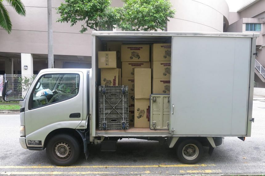 Another 4,928 cartons of duty-unpaid cigarettes were found in another truck in the vicinity of Woodlands Industrial Park.