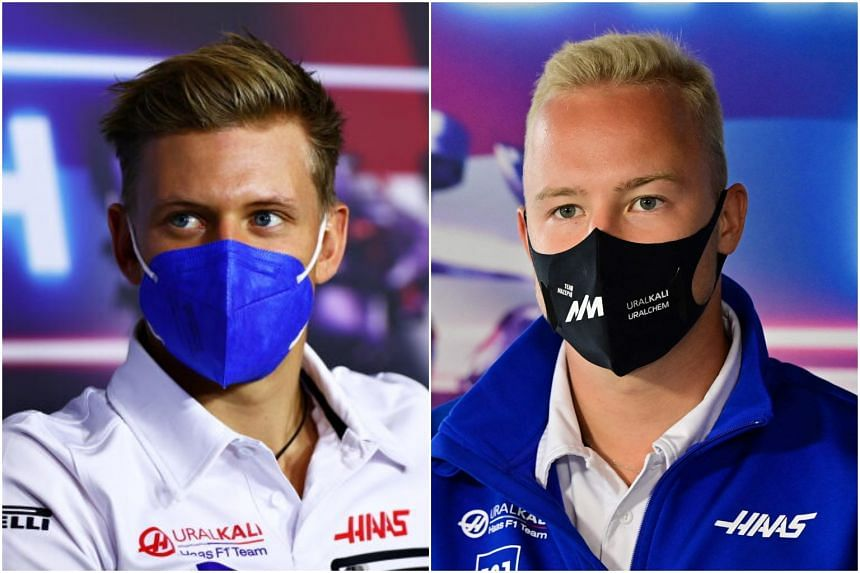 Mick Schumacher (left) said he did not understand Nikita Mazepin's action at the Dutch Grand Prix.