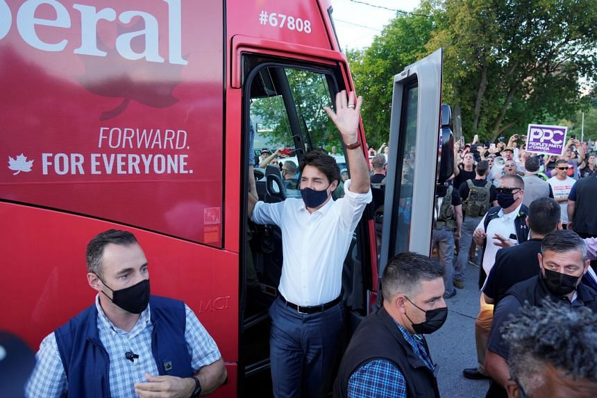 Canada's Liberal Prime Minister Justin Trudeau arrives at a campaign stop during his election campaign tour, in Newmarket, Ontario, on Sept 5, 2021..