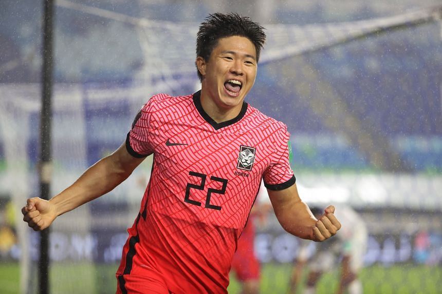 Kwon Chang-hoon celebrates after scoring for South Korea.