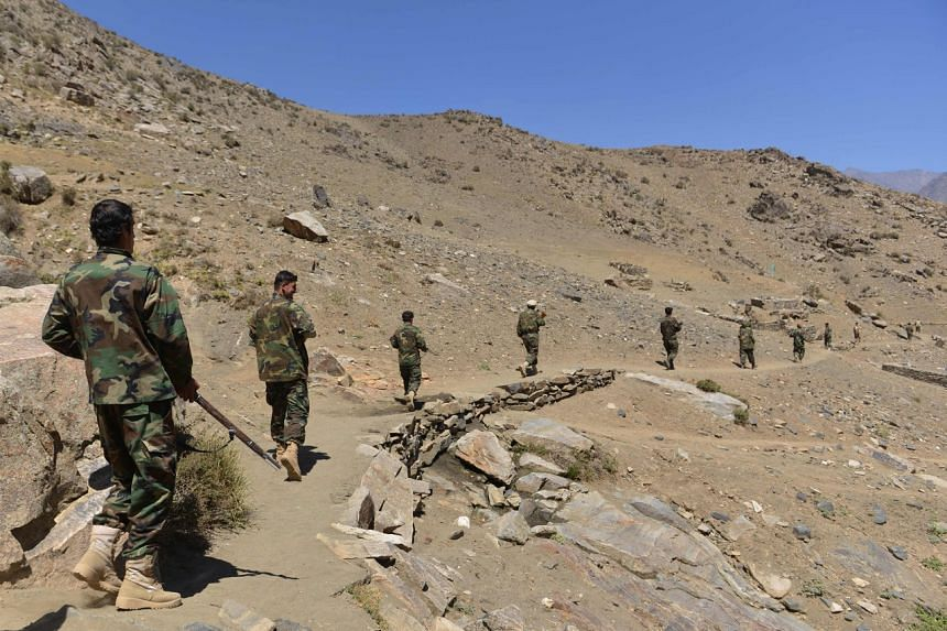 Anti-Taliban uprising forces take part in military training at the  in Panjshir province on Aug 24, 2021.