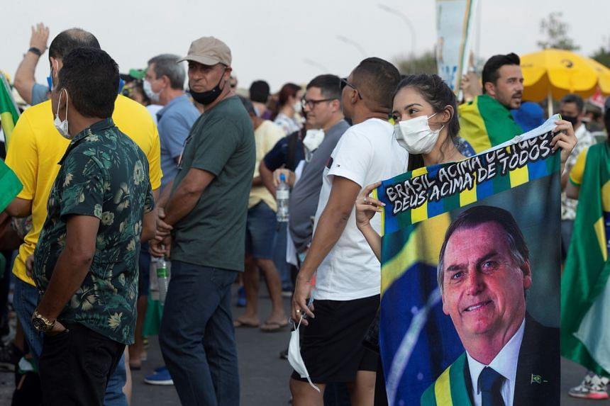 Supporters of Brazil's President Jair Bolsonaro demonstrate outside the Planalto palace on Sept 6, 2021.