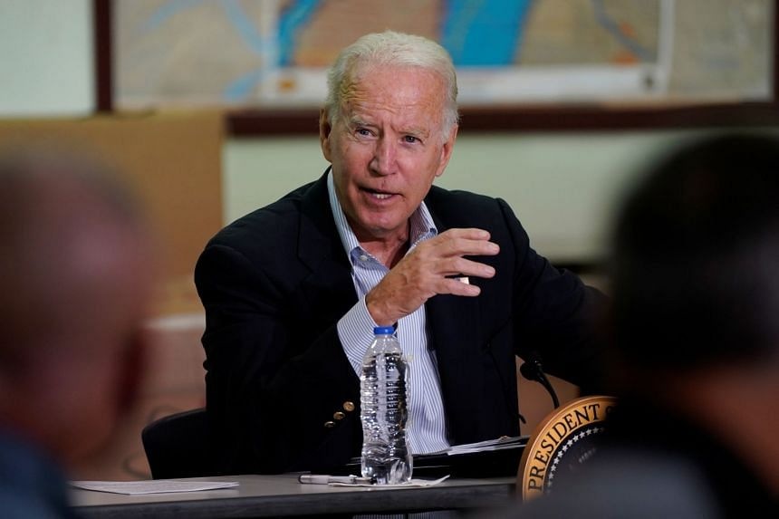 Joe Biden speaks during a briefing by local leaders on the impact of Ida, in Hillsborough Township, New Jersey, on Sept 7, 2021.