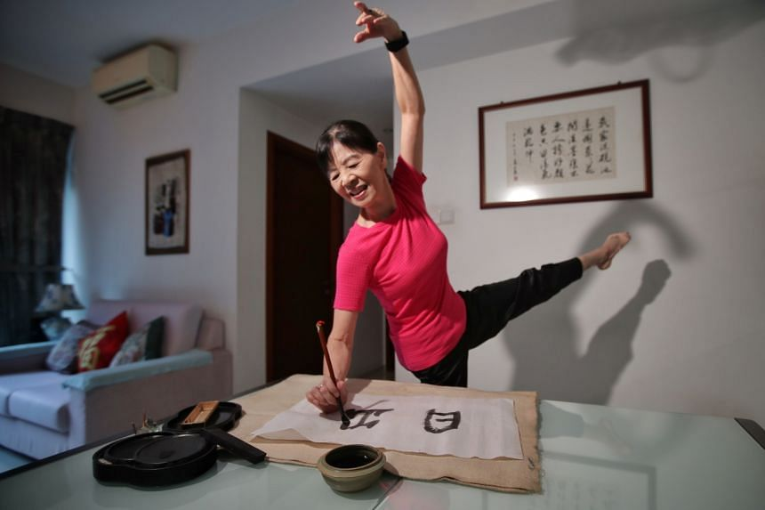 Madam Shen Zhi Hua, 74, teaches dance to adults several times a week and also practices Chinese calligraphy as one of her interests.