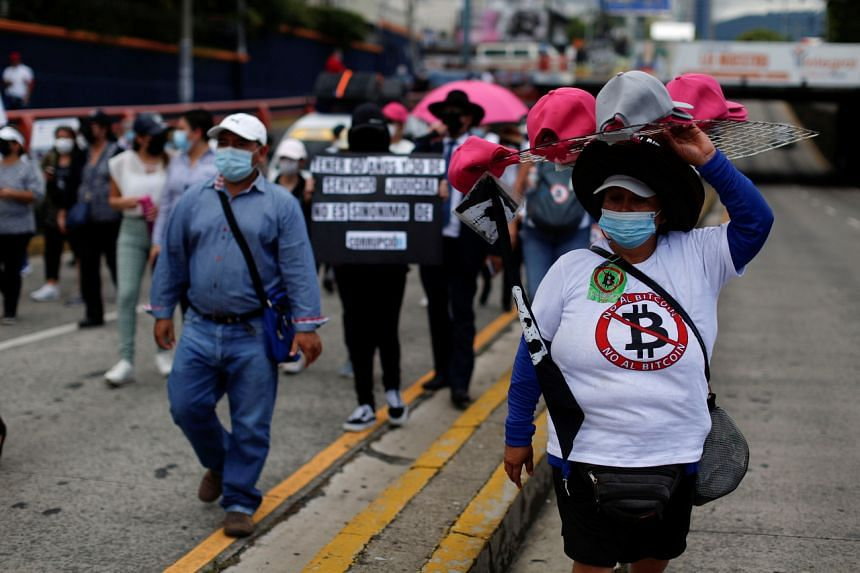 A street vendor during a protest against the use of Bitcoin as legal tender, in San Salvador, El Salvador on Sept 7, 2021.