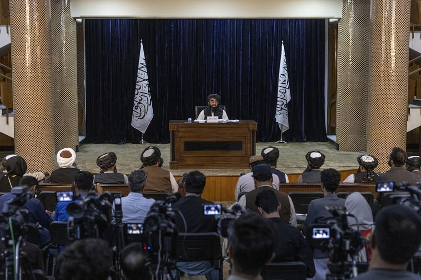 Taliban spokesman Zabihullah Mujahid announces an acting cabinet for the new government during a news conference in Kabul on Sept 7, 2021.