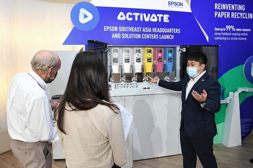 A product being introduced at its new showrooms is a dry office paper-making system.
