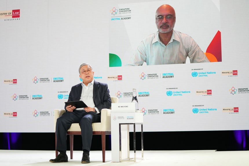 DBS Bank chief executive Piyush Gupta (right) said the souring of relations has already started to split the internet into opposing camps.