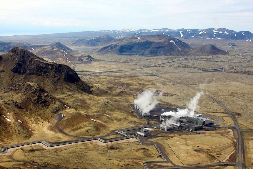 An aerial view of Hellisheidi geothermal power station near Reykjavik, Iceland, in 2016.