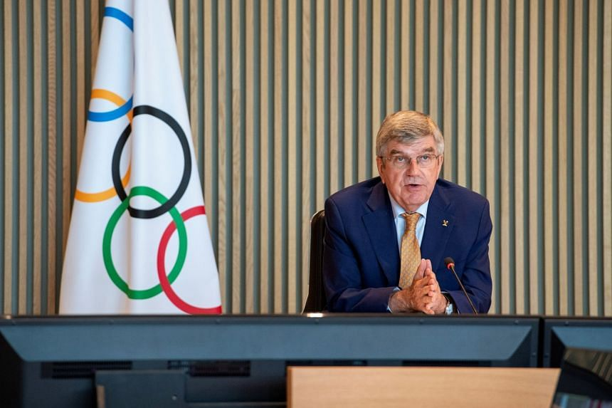 IOC president Thomas Bach attends the Executive Board virtual meeting on Sept 8, 2021.