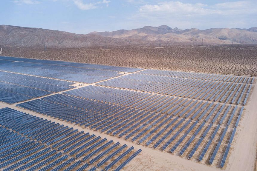 A field of solar panels is pictured in the US, in Kern County near Mojave, California.