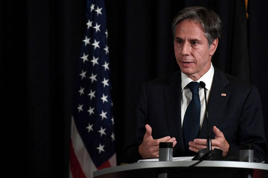 US Secretary of State Antony Blinken addresses a joint press conference with Germany's foreign minister on Sept 8, 2021.