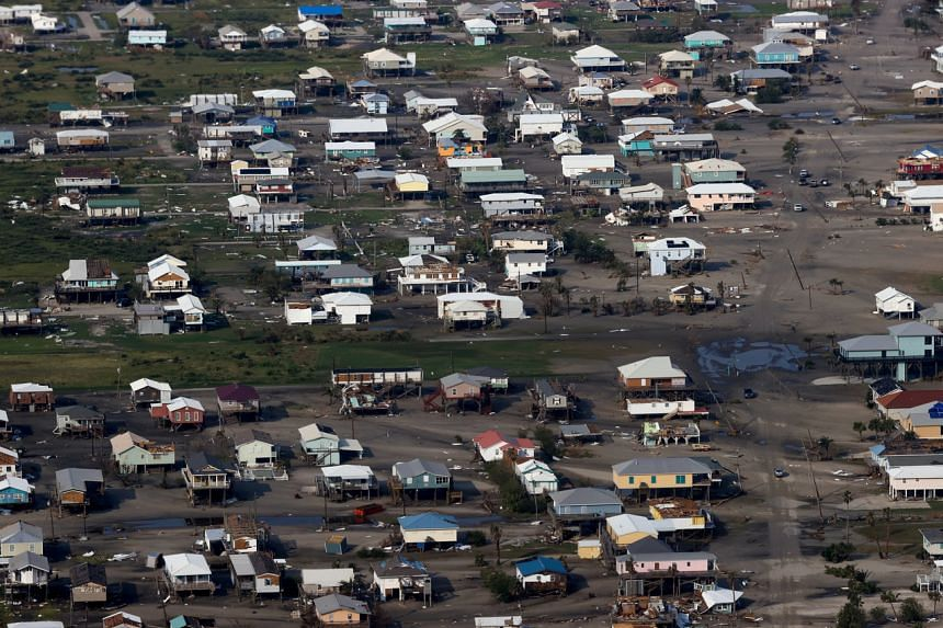 An aerial view shows debris and buildings damaged from Hurricane Ida in Louisiana on Sept 3, 2021.