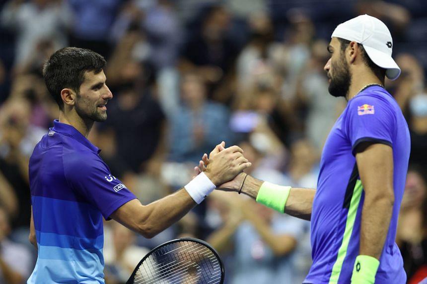 Novak Djokovic (left) fought back from a set down to beat Matteo Berrettini 5-7, 6-2, 6-2, 6-3.
