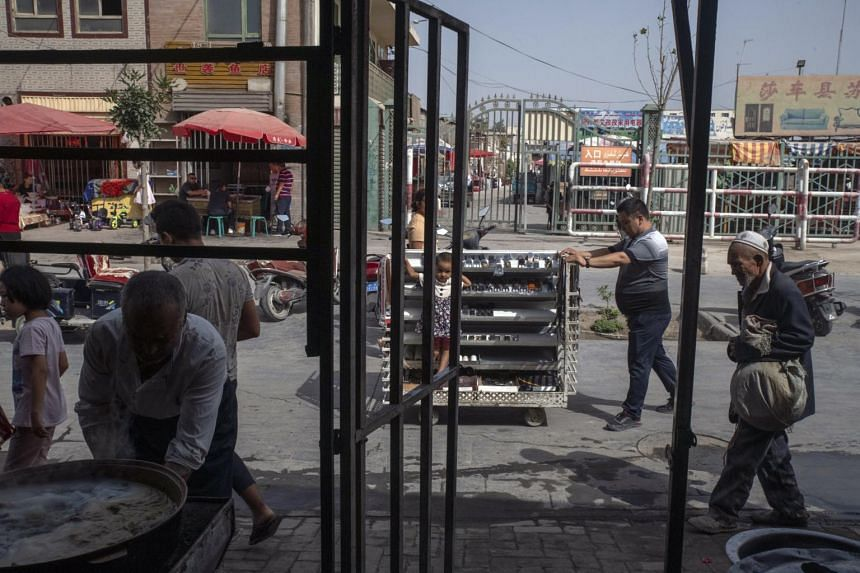 A photo from Aug 8, 2019, shows a market in the old city of Yarkand in Xinjiang, China.