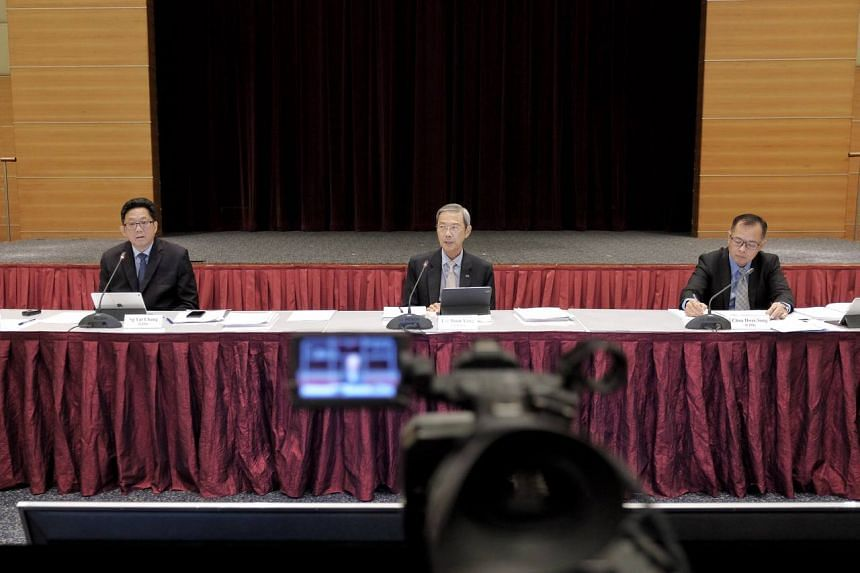 (From left) SPH CEO Ng Yat Chung, chairman Lee Boon Yang and CFO Chua Hwee Song holding the virtual EGM at the SPH News Centre on Sept 10, 2021.