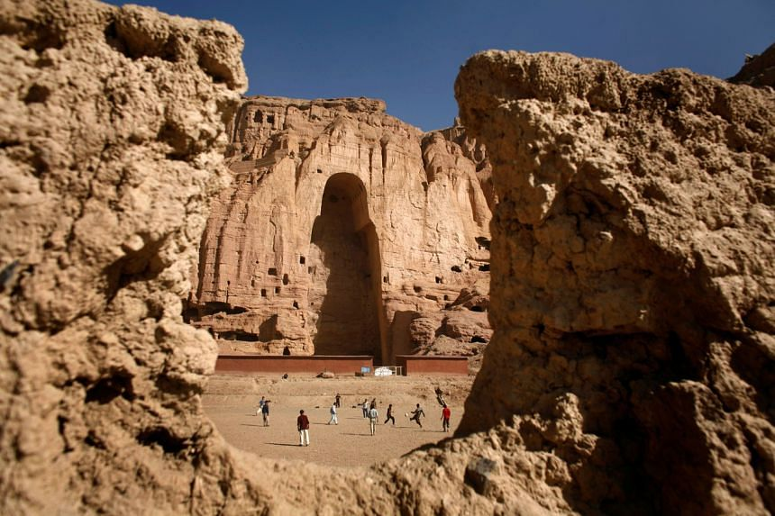 A gaping niche where a giant Buddha statue used to be is seen in Bamiyan, Afghanistan, in 2007. It was blown up by the Taliban in 2001.