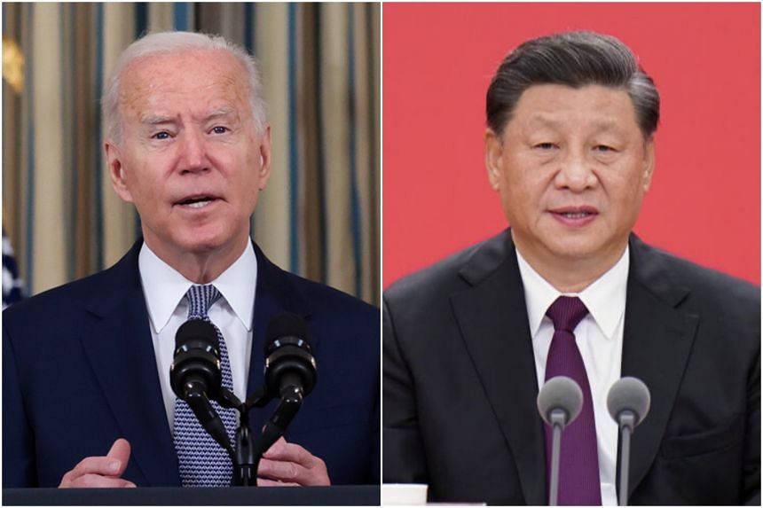 US President Joe Biden (left) talked with his Chinese counterpart Xi Jinping for the first time in seven months.