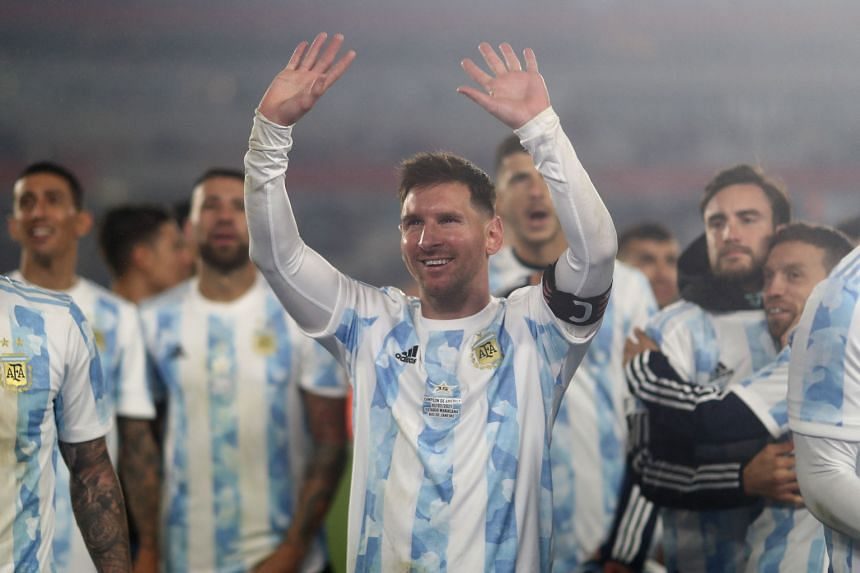 Argentina's Lionel Messi (centre) and teammates celebrate after defeating Bolivia during a World Cup qualifier in Buenos Aires on Sept 9, 2021.