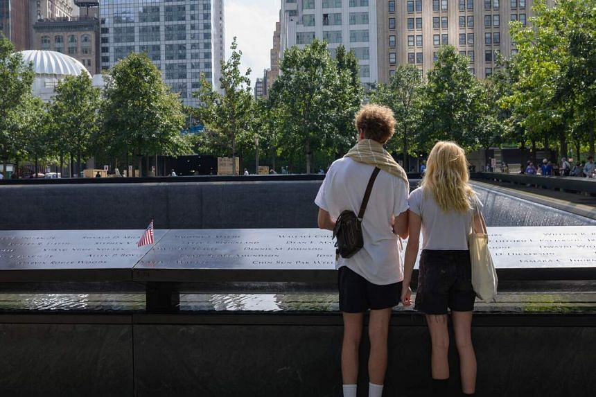 The 9/11 Memorial, where the Twin Towers once stood, in New York.