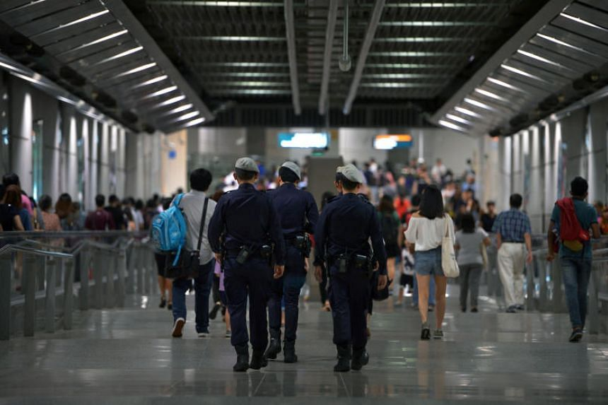 Public Transport Security Command officers at Serangoon MRT station, on July 29, 2016.