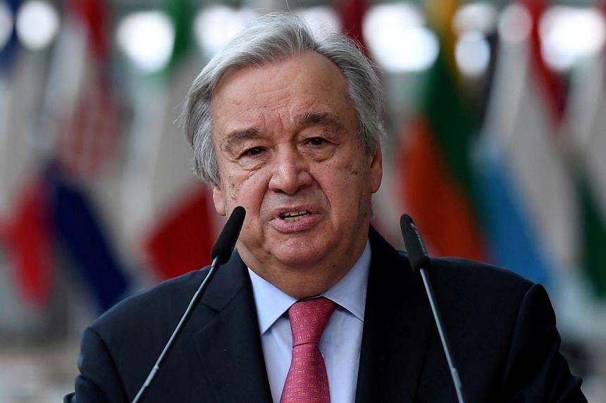 Secretary-General of the United Nations Antonio Guterres addresses the media in Brussels, Belgium on June 24, 2021.