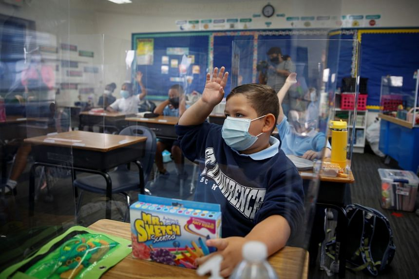 A student at a school in North Miami Beach, Florida, on Aug 18, 2021.