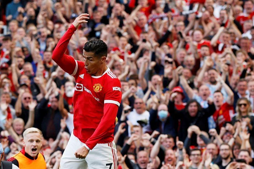 Manchester United's Cristiano Ronaldo celebrates scoring their second goal.