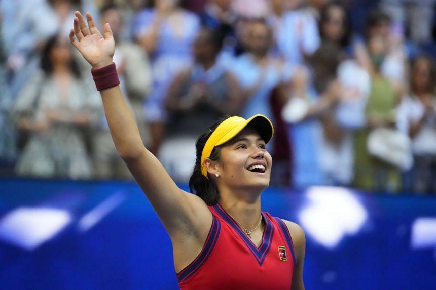 Britain's Emma Raducanu celebrates after her win against Leylah Fernandez of Canada.