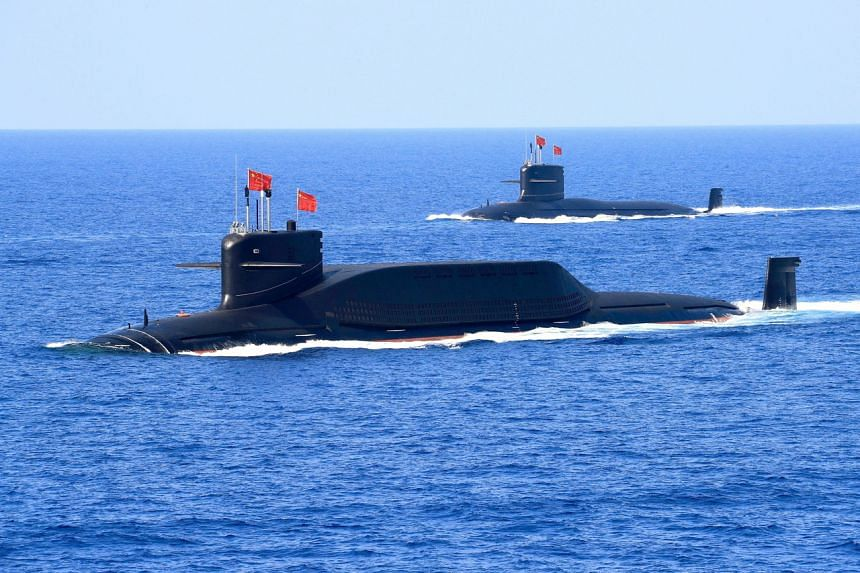 A file picture of Chinese Type 094 submarines in the South China Sea in 2018. Japan has complained of numerous intrusions by Chinese vessels of its territorial waters and near disputed islands in recent years.