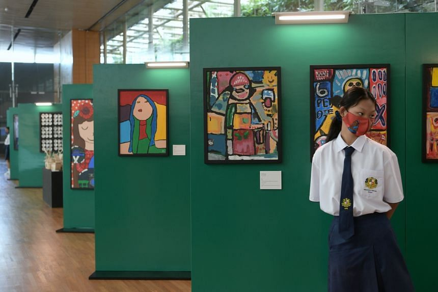 The exhibition features 47 artworks by Assumption Pathway School students.