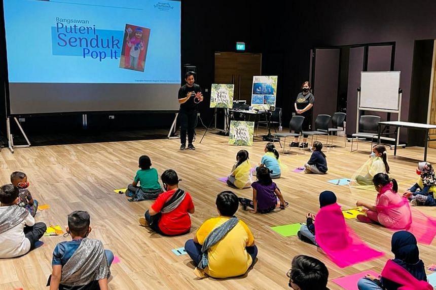 Children participating in the Bangsawan workshop organised as part of this year's Bulan Bahasa (Malay Language month).